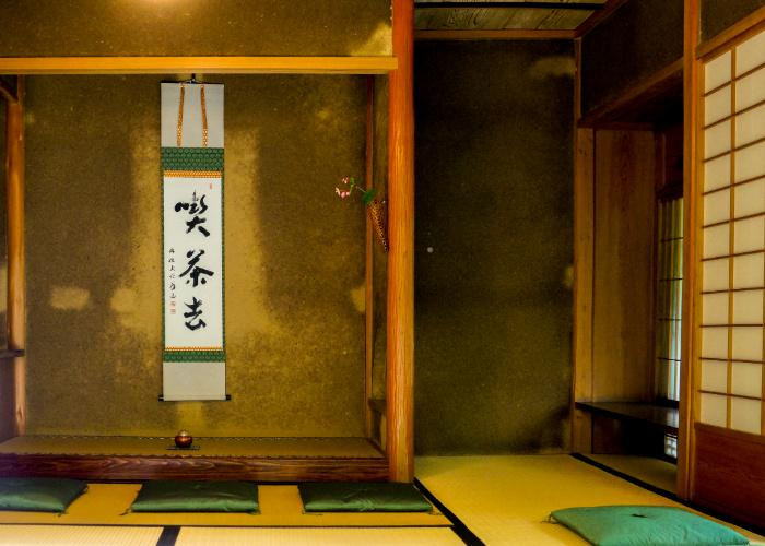 Historical tea ceremony room in Kyoto, showcasing traditional Japanese architectural elements