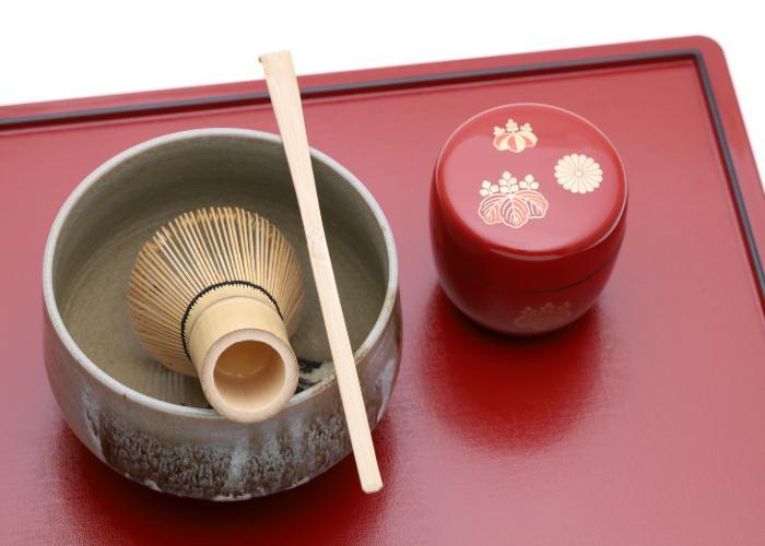 Tea ceremony whisk, chashaku, and tea caddy